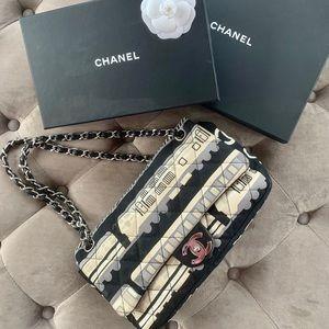Chanel 2.55 Reissue Blk white Le Train Canvas bag